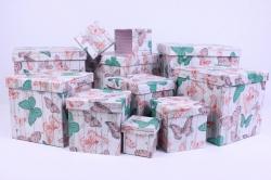 """Набор подарочных коробок из 10шт - КУБ  """"Бабочки"""" 26,5*26,5*26,5см  SY601-1137"""