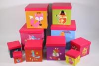 Набор подарочных коробок из 10шт (КУБ большой)  Лиса