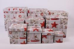 """Набор подарочных коробок из 10шт - КУБ """"Морские Звезды  SY601-1208"""