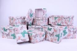 """Набор подарочных коробок из 10шт - Прямоугольник """"Бабочки""""  SY605-1137"""