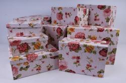 Набор подарочных коробок из 10шт -  Прямоугольник Розы акварель   К993