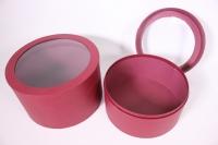 Набор подарочных коробок из 2шт- Цилиндр под цветы с окном бордовый 28*28*14см
