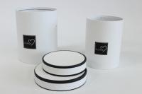 Набор подарочных коробок из 2шт (Цилиндр) с окантовкой Белый