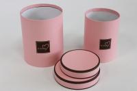 Набор подарочных коробок из 2шт (Цилиндр) с окантовкой Розовый