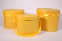 Набор подарочных коробок из 2шт (ОВАЛ) под цветы - Желтый ОЦВ10люкс