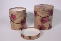"""Набор подарочных коробок из 2шт (Шляпная) под цветы - с ручкой Крафт """"Цветы"""" ЦЦВ4"""