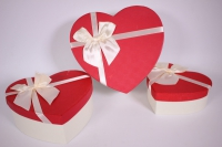 Набор подарочных коробок из 3-х шт Сердце красная крышка