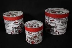 Набор подарочных коробок из 3 шт - Б Цилиндр Дед Мороз