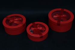 Набор подарочных коробок из 3 шт - Б Цилиндр с окном Красный