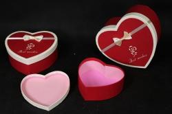 Набор подарочных коробок из 3 шт - Б Сердце красное с розочками