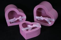 Набор подарочных коробок из 3 шт - Б Сердце с окном розовое