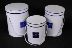 Набор подарочных коробок из 3 шт - Цилиндр с окантовкой белый d=18, h=24см