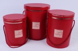 Набор подарочных коробок из 3 шт - Цилиндр с окантовкой красный