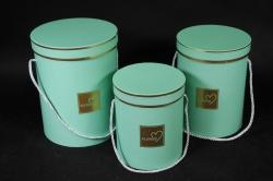 Набор подарочных коробок из 3 шт - Цилиндр с окантовкой мятный d=18, h=24см