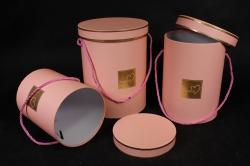 Набор подарочных коробок из 3 шт - Цилиндр с окантовкой розовый d=18, h=24см