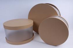 Набор подарочных коробок  из 3 шт - Цилиндр с прозрачными стенками бежевый   D34