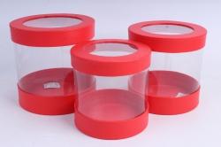Набор подарочных коробок  из 3 шт - Цилиндр с прозрачными стенками красный  М25
