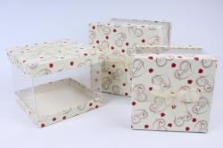 Набор подарочных коробок  из 3 шт - Куб с прозрачными стенками  шампань с сердцами