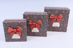 Набор подарочных коробок  из 3 шт - Квадрат коричневый   М23А