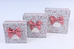 Набор подарочных коробок  из 3 шт - Квадрат серый   М23А