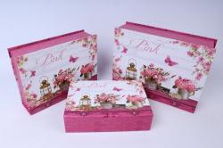 Набор подарочных коробок  из 3 шт - Прямоугольник Розы   SY8029-235