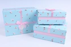 Набор подарочных коробок  из 3 шт - Прямоугольник с магнолией голубой    М25А