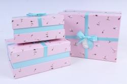 Набор подарочных коробок  из 3 шт - Прямоугольник с магнолией розовый   М25А