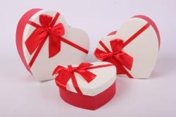 Набор подарочных коробок из 3 шт - Сердце белая крышка/красное Арт. 200