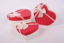 Набор подарочных коробок из 3 шт - Сердце красная крышка/белое  Арт. 200