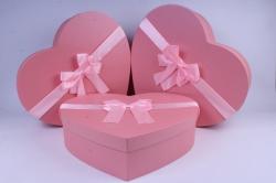Набор подарочных коробок из 3 шт- Сердце Розовое
