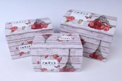 Набор подарочных коробок  из 3 шт - СУНДУЧЕК Париж и Бабочки   SY3011-244