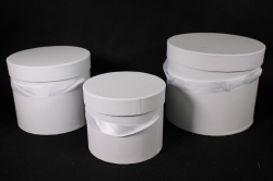 Набор подарочных коробок из 3шт- Б Цилиндр Белый