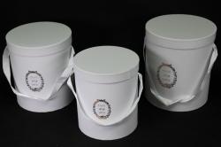 Набор подарочных коробок из 3шт - Б Цилиндр Белый
