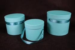 Набор подарочных коробок из 3шт- Б Цилиндр Бирюзовый