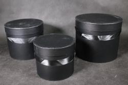 Набор подарочных коробок из 3шт- Б Цилиндр Чёрный