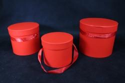 Набор подарочных коробок из 3шт- Б Цилиндр Красный