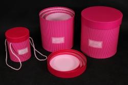 Набор подарочных коробок из 3шт - Б Цилиндр Малина