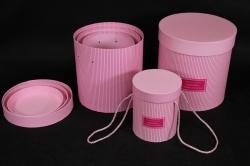Набор подарочных коробок из 3шт - Б Цилиндр Розовый