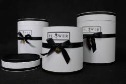 Набор подарочных коробок из 3шт- Б Цилиндр с чёрным бантом белый