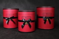 Набор подарочных коробок из 3шт- Б Цилиндр с чёрным бантом бордо