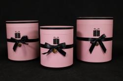 Набор подарочных коробок из 3шт- Б Цилиндр с чёрным бантом розовый