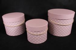 Набор подарочных коробок из 3шт-Б Цилиндр с ручкой розовый горох