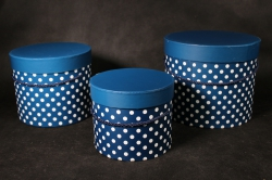 Набор подарочных коробок из 3шт-Б Цилиндр с ручкой синий горох