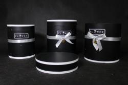 Набор подарочных коробок из 3шт- Б Цилиндр с серым бантом чёрный