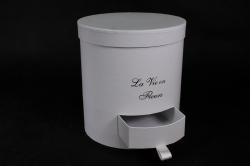 Набор подарочных коробок из 3шт - Б Цилиндр с ящичком Белый d=22 h=24