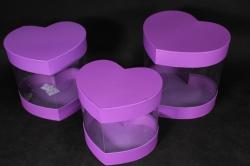 Набор подарочных коробок из 3шт- Б Сердце с прозрачными стенками фиолетовое