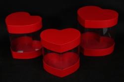 Набор подарочных коробок из 3шт- Б Сердце с прозрачными стенками красное