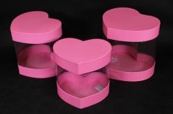 Набор подарочных коробок из 3шт- Б Сердце с прозрачными стенками розовое