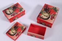 Набор подарочных коробок из 3шт. (Часы) Новый Год (А)