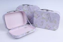 Набор подарочных коробок из 3шт - Чемодан   лаванда (Н)   8530